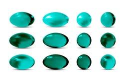 Comprimidos verdes do vetor 3d ilustração royalty free