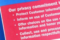Comprometimento da privacidade ao costume Foto de Stock