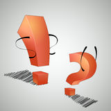 Compromise. The exclamation point and question mark are arguing with each other royalty free illustration