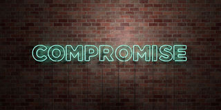 COMPROMISE - fluorescent Neon tube Sign on brickwork - Front view - 3D rendered royalty free stock picture. Can be used for online banner ads and direct Stock Photo