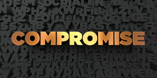 Compromise - Gold text on black background - 3D rendered royalty free stock picture. This image can be used for an online website banner ad or a print postcard Royalty Free Stock Photos