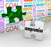 Compromise Resolve Difference Solve Dispute Puzzle Piece Wall Ho. Compromise word on a puzzle piece to fill a hole in the wall illustrating using negotiaiton and Royalty Free Stock Photo