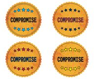 COMPROMISE text, on round wavy border vintage, stamp badge. COMPROMISE text, on round wavy border vintage stamp badge, in color set Stock Photos