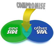Compromise Venn Diagram Negotiate Settlement Stock Photo