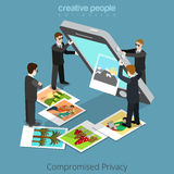 Compromised privacy concept. Special agents shake Royalty Free Stock Image