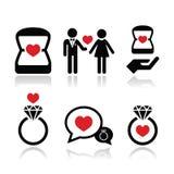 Compromiso, anillo de diamante en los iconos del vector de la caja fijados Foto de archivo libre de regalías