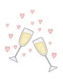 Compromiso Champagne Love Toast Foto de archivo libre de regalías