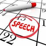 Compromiso de discurso importante circundado fecha Remin del calendario del discurso Imagen de archivo libre de regalías