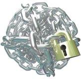 Compromiso seguro de la cerradura de la bola de la alambrada Fotografía de archivo