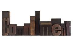 Compromisso, escrito em blocos de impressão do vintage foto de stock