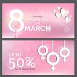 Comprovante de presente, o dia das mulheres Vetor Fotografia de Stock