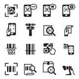 Compruebe el código, código de barras, sistema de Icons del lector de código de QR Foto de archivo libre de regalías