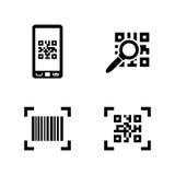 Compruebe el código Iconos relacionados simples del vector Imágenes de archivo libres de regalías