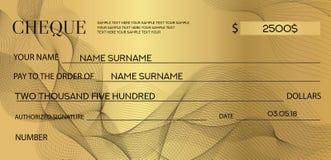 Compruebe el cheque, plantilla del talonario de cheques Líneas filigrana del modelo, líneas libre illustration