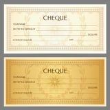 Compruebe el cheque, plantilla del talonario de cheques Modelo del guilloquis con la filigrana, spirograph stock de ilustración