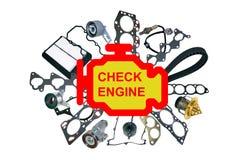 Compruebe el símbolo ligero del motor Fotografía de archivo