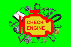 Compruebe el símbolo ligero del motor Foto de archivo