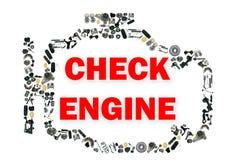 Compruebe el símbolo ligero del motor cuando va algo Imágenes de archivo libres de regalías