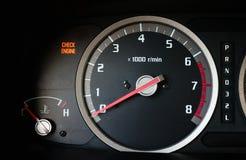 Compruebe la luz del motor encendido Foto de archivo libre de regalías