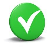 Compruebe a Mark Symbol Green Button Foto de archivo libre de regalías