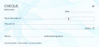 Compruebe, plantilla del talonario de cheques del cheque Modelo del guilloquis con la filigrana azul del arco libre illustration