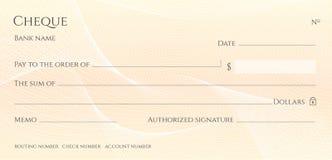 Compruebe, plantilla del talonario de cheques del cheque Modelo del guilloquis con la línea abstracta filigrana