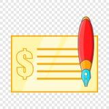 Compruebe y encierre el icono en estilo de la historieta stock de ilustración