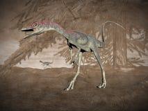 Compsognathus恐龙- 3D回报 免版税库存图片