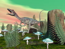 Compsognathus dinosaur - 3D render Royalty Free Stock Image