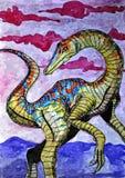 Compsognathus dinosaur Retrato Aquarela molhada de pintura no papel Arte ingénua Aquarela do desenho no papel ilustração stock