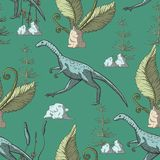 Compsognathus Dinosaur seamless pattern. stock illustration