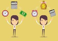 Comptable au travail Le temps, c'est de l'argent concept Photo libre de droits