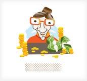Comptable avec de l'argent et les pièces de monnaie A Photographie stock
