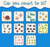 Comptant le numéro un dix avec des insectes illustration stock