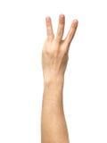 Comptant le signe de main d'isolement sur le blanc photo libre de droits