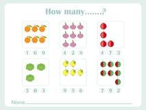 Comptant les jeux éducatifs badine, badine la feuille d'activité Combien d'objets de tâche Étude des maths, nombres, thèmes d'add Photo stock
