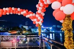 Compte à rebours à la nouvelle année sur Pattaya Image libre de droits