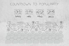 Compte à rebours au chronométreur et à la foule de popularité avec des réactions positives Images stock