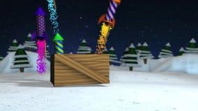 Compte à rebours des nombres qui sortent des boîte-cadeau avec des ressorts jusqu'à ce que vous atteigniez une boîte avec les fus banque de vidéos