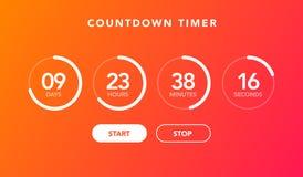 Compte à rebours plat de chronométreur de pendule à lecture digitale d'illustration de vecteur pour le fond de site Web illustration libre de droits