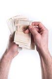 Compte d'argent de main Images stock