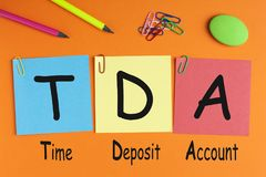 Compte de dépôt à terme TDA images stock