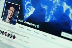 Compte de facebook de Mark Zuckerberg photo stock