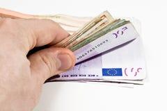 Compte de l'euro argent photographie stock