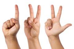 Compte de la main d'une à trois Image libre de droits