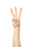 Compte de main Trois doigts D'isolement photos stock