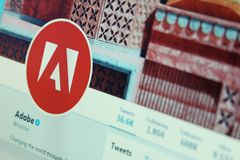 Compte de Twitter d'Adobe photo stock