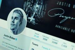 Compte de Twitter de Justin Bieber photographie stock libre de droits