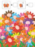 Compte des fleurs colorées de papillons Photo stock