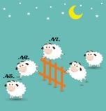 Compte des moutons sautant par-dessus la barrière Photos libres de droits